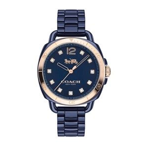NWT Navy Coach Tatum Watch Rose Gold and Crystals